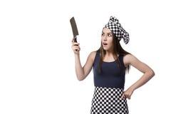 Le cuisinier de jeune femme d'isolement sur le fond blanc Images libres de droits
