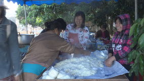 Le cuisinier féminin a mis en riz collant au sachet en plastique clips vidéos