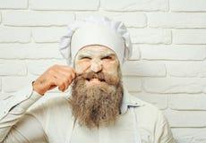 Le cuisinier fâché d'homme tire des cheveux Photos libres de droits