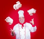 Le cuisinier gai jonglent avec des poulets photos stock