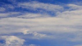 Le cumulus et les cirrus se déplacent sur le fond du ciel bleu banque de vidéos
