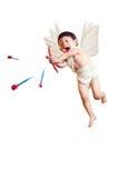 Le cupidon asiatique de garçon avec un tir à l'arc a isolé le blanc avec le chemin de coupure Images stock