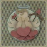Le cupidon se reposent sur l'amour de coeur pourrait sur le rétro fond, concept d'amour Photo libre de droits