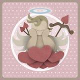 Le cupidon se reposent sur l'amour de coeur pourrait sur le rétro fond, pape réutilisé Images libres de droits