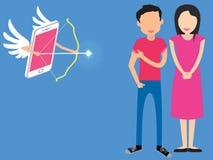 Le cupidon a visé la flèche quelques métaphores d'amour à en ligne Image libre de droits