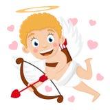 Le cupidon vole avec un tir à l'arc et des sourires sur un blanc illustration libre de droits