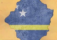 Le Curaçao énoncent la structure matérielle de façade cassée par drapeau en grand béton images libres de droits