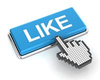 Le curseur de main cliquant sur un bleu aiment le bouton Photo stock