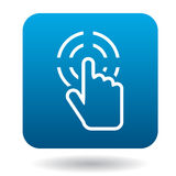 Le curseur de main clique sur l'icône dans le style simple illustration libre de droits