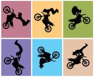Le curseur de motocross sautent Images libres de droits