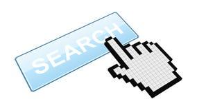 """Le curseur de souris appuie sur le bouton de """"recherche """"- banque de vidéos"""