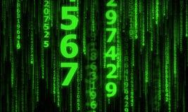 Le cyberespace avec beaucoup lignes nombres en baisse de scintillement Photos libres de droits
