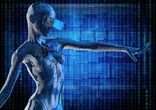 Le cyborg chromeplated élégant la femme illustration 3D Images stock