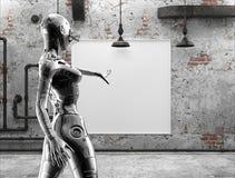 Le cyborg chromeplated élégant la femme près des photos sur un mur dans la vieille salle illustration 3D Image libre de droits