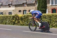 Le cycliste Alexandre Geniez Images libres de droits