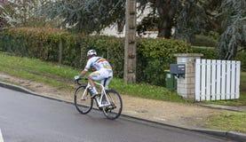Le cycliste Eduard Grosu - 2019 Paris-gentil image libre de droits