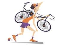 Le cycliste fatigué avec un vélo cassé a isolé l'illustration Images libres de droits
