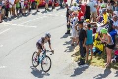 Le cycliste Jan Bakelants sur Col du Glandon - Tour de France 201 Photographie stock libre de droits