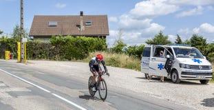 Le cycliste Matteo Bono - Criterium du Dauphine 2017 Photos libres de droits