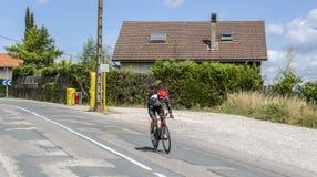 Le cycliste Matteo Bono - Criterium du Dauphine 2017 Photo libre de droits
