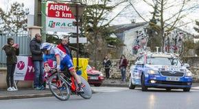 Le cycliste Mickael Delage - 2016 Paris-gentil image stock