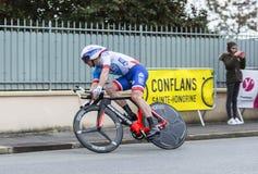 Le cycliste Mickael Delage - 2016 Paris-gentil photo stock
