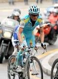 Le cycliste Nepomnyachshiy de pro Astana d'équipe Images libres de droits