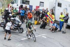 Le cycliste Pierre Rolland - Tour de France 2015 Images libres de droits