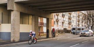 Le cycliste Stefan Denifl - 2016 Paris-gentil photographie stock libre de droits