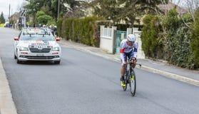 Le cycliste Vicente Reynes Mimo- 2016 Paris-gentil images stock