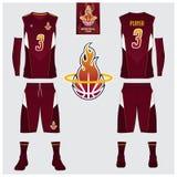 Le débardeur de basket-ball, shorts, cogne le calibre pour le club de basket-ball Uniforme avant et arrière de sport de vue Moque Photos libres de droits
