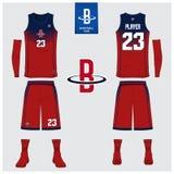 Le débardeur de basket-ball, shorts, cogne le calibre pour le club de basket-ball Uniforme avant et arrière de sport de vue Moque Illustration Stock