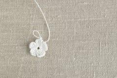 Le début de la fleur organique de napperon de coton à crochet fait main Crochet faisant du crochet vieil en métal Métier créatif  Photos stock