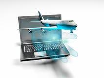 Le décollage plat de la main d'ordinateur portable, 3d rendent illustration de vecteur