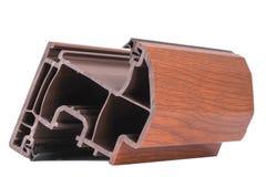 Le décor en bois de coin simple de PVC sur le fond blanc Images stock