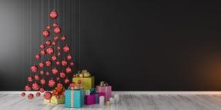 Le décor et les cadeaux intérieurs 3D de Noël rendent faux haut Photo stock