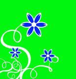 Le décor s'enroule avec la fleur bleue et le fond vert Photo stock