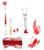 le découpage sanglant a isolé des chemins de médecine réglés photos stock