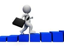 Le défi de succès indique des affaires Person And Businessman 3d R Photos libres de droits