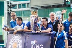 Le défilé de victoire d'une ville anglaise de Leicester de club du football, le champion de la ligue 2015 - 2016 première anglais Photo stock
