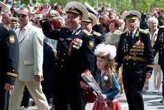 Le défilé du vétéran russe. Photo stock
