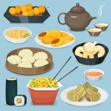 Le déjeuner délicieux de porcelaine de repas de dîner de l'Asie de cuisine de tradition de plat chinois de nourriture a fait cuir illustration stock