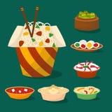 Le déjeuner délicieux de porcelaine de repas de dîner de l'Asie de cuisine de tradition de plat chinois de nourriture a fait cuir illustration de vecteur