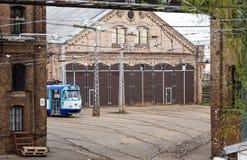 Le dépôt de tram à Riga Photo stock