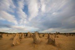 Le désert de sommets au coucher du soleil Photographie stock