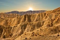 Le désert des tavernes d'Almeria au coucher du soleil photos stock