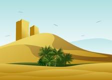 Le désert et l'oasis avec des palmiers illustration de vecteur