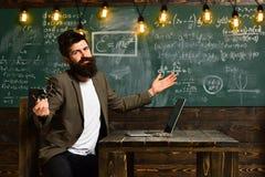 Le désir d'aider devrait être dans le tuteur par nature, professeur a son propre amour de learningTeacher inspire des étudiants a images stock