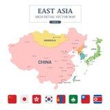 Le détail élevé polychrome de carte de l'Asie de l'Est a séparé tous les pays Photo libre de droits