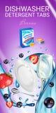 Le détergent de lave-vaisselle de parfum de baies tabule des annonces Illustration réaliste de vecteur avec des plats dans l'écla illustration stock